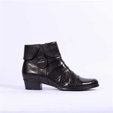 Regarde Le Ciel Folded Cuff Buckle Boot - Black Combi