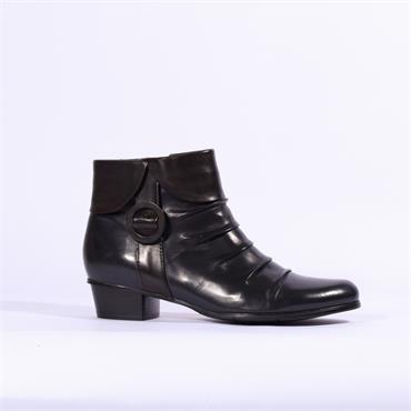 Regarde Le Ciel Folded Cuff Buckle Boot - Navy Combi