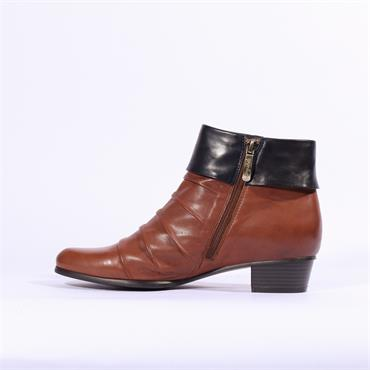 Regarde Le Ciel Folded Cuff Buckle Boot - Tan/navy