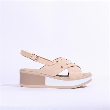 Repo Cris Cross  Wedge Sandal - Beige