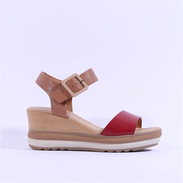 Repo Layered Wedge Buckle Sandal - Pink Combi