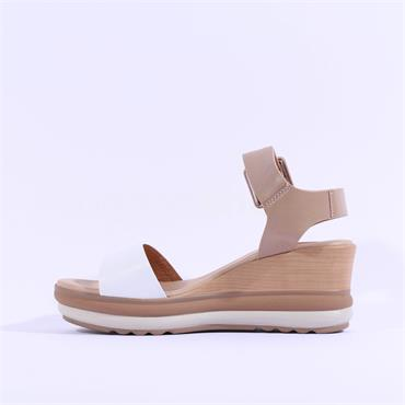 Repo Layered Wedge Buckle Sandal - White Combi