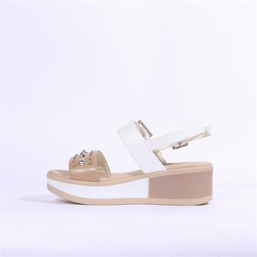 Repo Wedge Sandal Stud Detail - Beige White