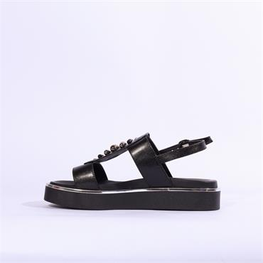 Repo Metallic Trim Sandal Stud Detail - Black