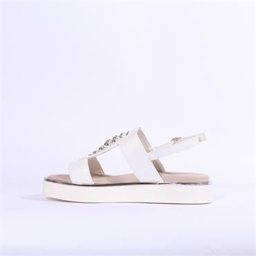 Repo Metallic Trim Sandal Stud Detail - White