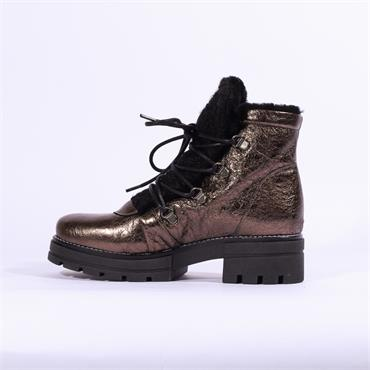 Repo Lace Up Boot Fur Lining - Bronze Leather