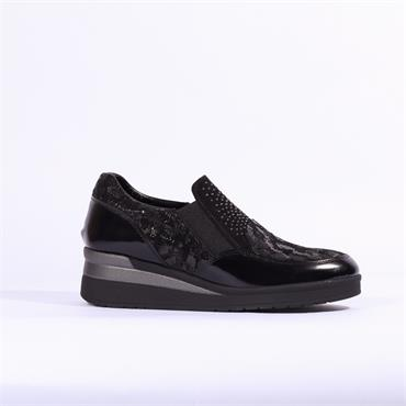 Repo Slip On Wedge Shoe Stud Detail - Black Leather