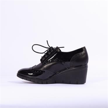 Repo Wedge Brogue Lace Up Shoe - Black Leather