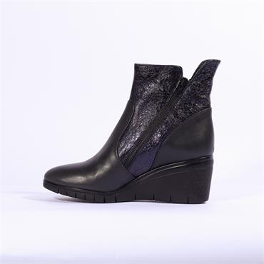 Repo Wedge Boot Diagonal Side Zip - Navy Leather