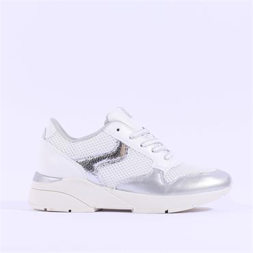 Sprox Mesh Wedge Laced Trainer - White Silver