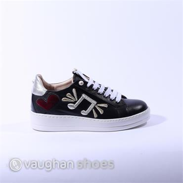 Oxitaly Casual Lace Up Sneaker - Black