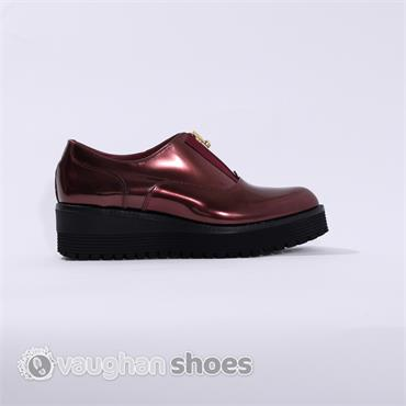 Marco Moreo Low Wedge Zip Front - Wine