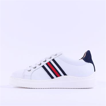 Unisa Side Panel Laced Trainer Farola - White Red Navy