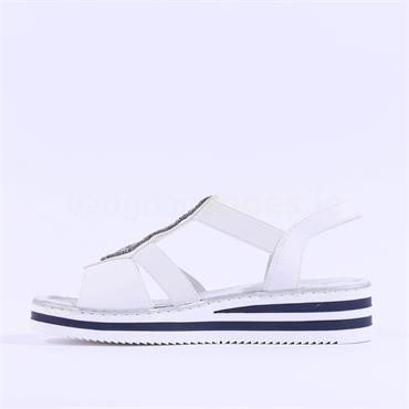 Rieker Elasticated Sandal Bead Detail - White
