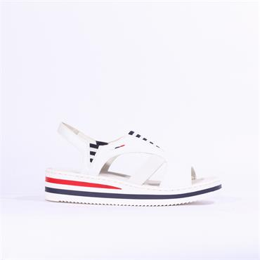Rieker Elasticated Platform Sandal - White Navy