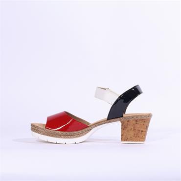 Rieker Platform Block Heel Sandal Luxor - Red Combi