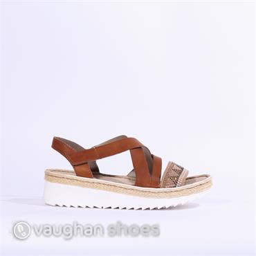 Rieker Sandal Crisscross Strap &Diamante - Tan