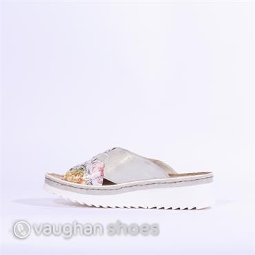 Rieker Floral Mule Sandal - Silver Multi