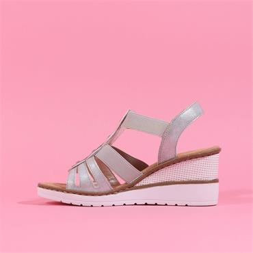 Rieker Elasticated Strappy Wedge Sandal - Silver