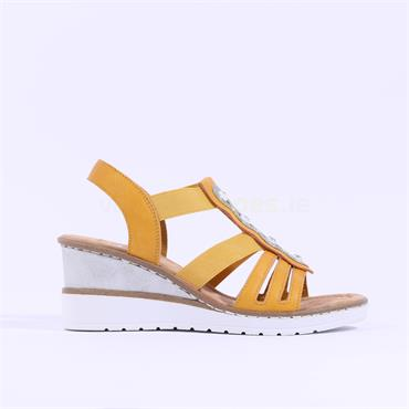 Rieker Elasticated Strappy Wedge Sandal - Yellow