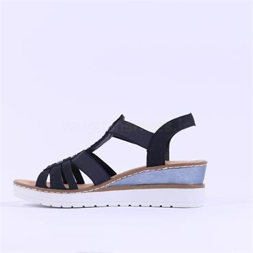 Rieker Elasticated Wedge Sandal Dipinto - Navy