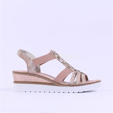 Rieker Elasticated Wedge Sandal Dipinto - Rose