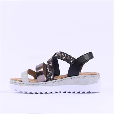 Rieker Criss Cross Elasticated Sandal - Grey Silver Combi