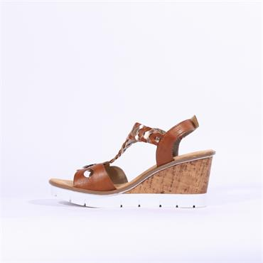 Rieker Wedge T Bar Sandal Eagle - Brown Rose Gold Combi