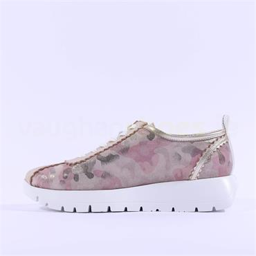 Wonders Elastic Lace Wedge Trainer - Rose Camouflage