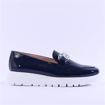 Wonders Link Detail Slip On Wedge - Navy Patent