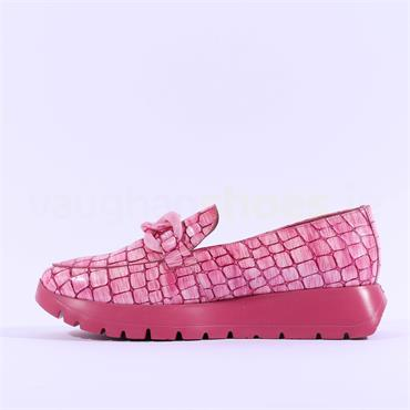 Wonders Link Detail Slip On Wedge - Pink Croc