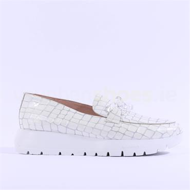 Wonders Link Detail Slip On Wedge - White Croc