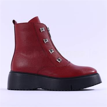 Wonders Front Zip Stud Detail Ankle Boot - Red Leather