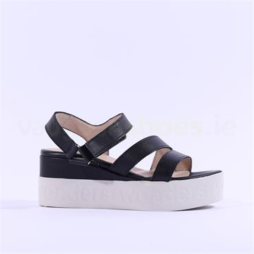 Wonders Platform Strappy Sandal - Black Leather