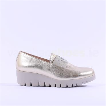 Wonders Sparkle Stud Band Wedge Shoe - Gold Leather