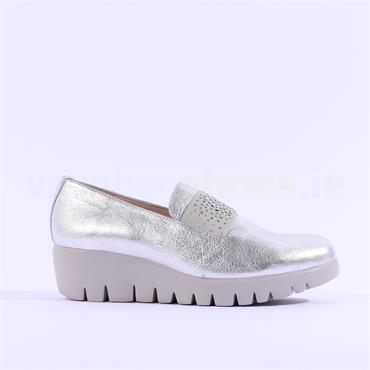 Wonders Sparkle Stud Band Wedge Shoe - Silver Leather