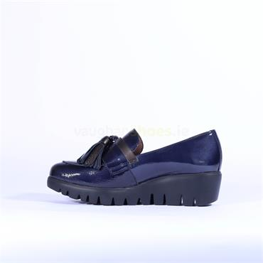 Wonders Tassel Detail Slip On Wedge Shoe - Navy Patent