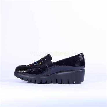Wonders Multi Stud Upper Slip On Wedge - Black Patent