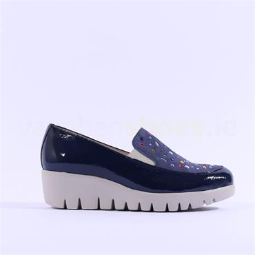 Wonders Multi Stud Upper Slip On Wedge - Navy Patent