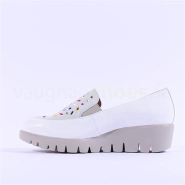 Wonders Multi Stud Upper Slip On Wedge - White Patent