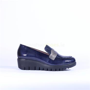 Wonders Croc Detail Slip On Wedge Shoe - Navy Patent