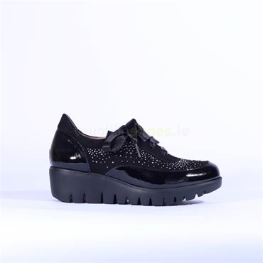 Wonders Ribbon Lace Wedge Stud Shoe - Black Patent Combi