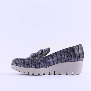 Wonders Croc Print Patent Buckle Wedge - Grey Croc