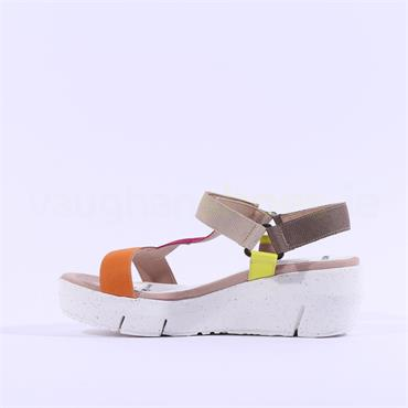 Wonders Eco Green Sporty Wedge Sandal - Orange Multi