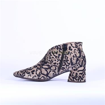 Wonders V Cut Block Heel Ankle Boot - Leopard Print