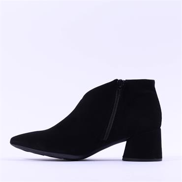 Wonders V Cut Block Heel Ankle Boot - Soft Black Suede