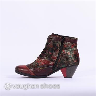 Rieker Lace Boot Floral Detail Eagle - Wine/multi