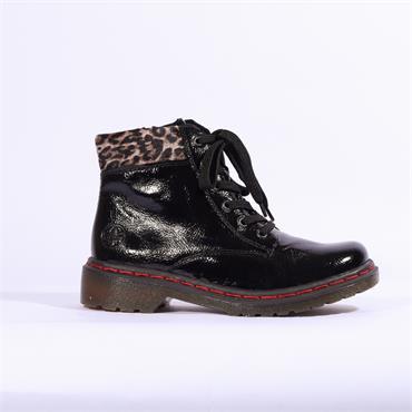 Rieker Lagro Laced  Leopard Top - Black Leopard