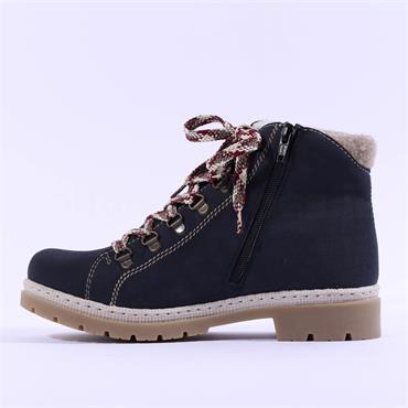Rieker Kalpi Knit Top Laced Boot - Navy