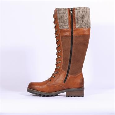 Rieker Eagle Laced Up Knee Boot Sock Top - Tan Combi